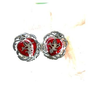 *RARE* Red Siam Sterling Heart Shaped Clip Ons